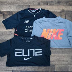Lot of 3 Nike & New Balance Boy's T-Shirts - YL
